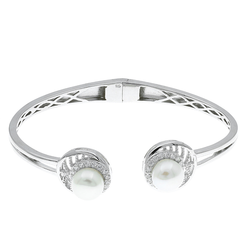 Women Pearl Open Bangle