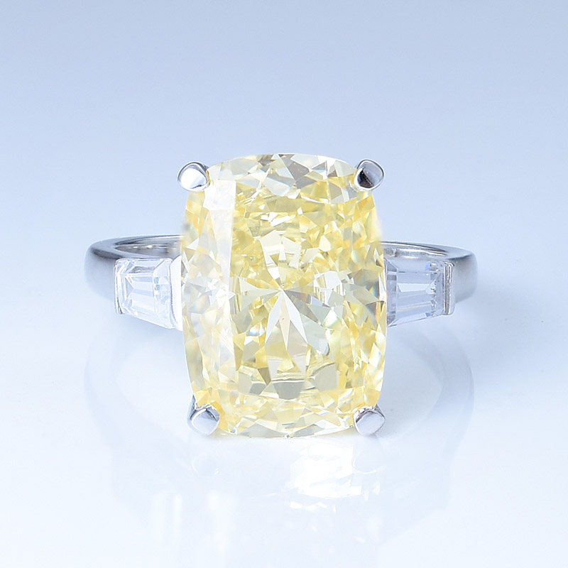 Silver Yellow Diamond Ring