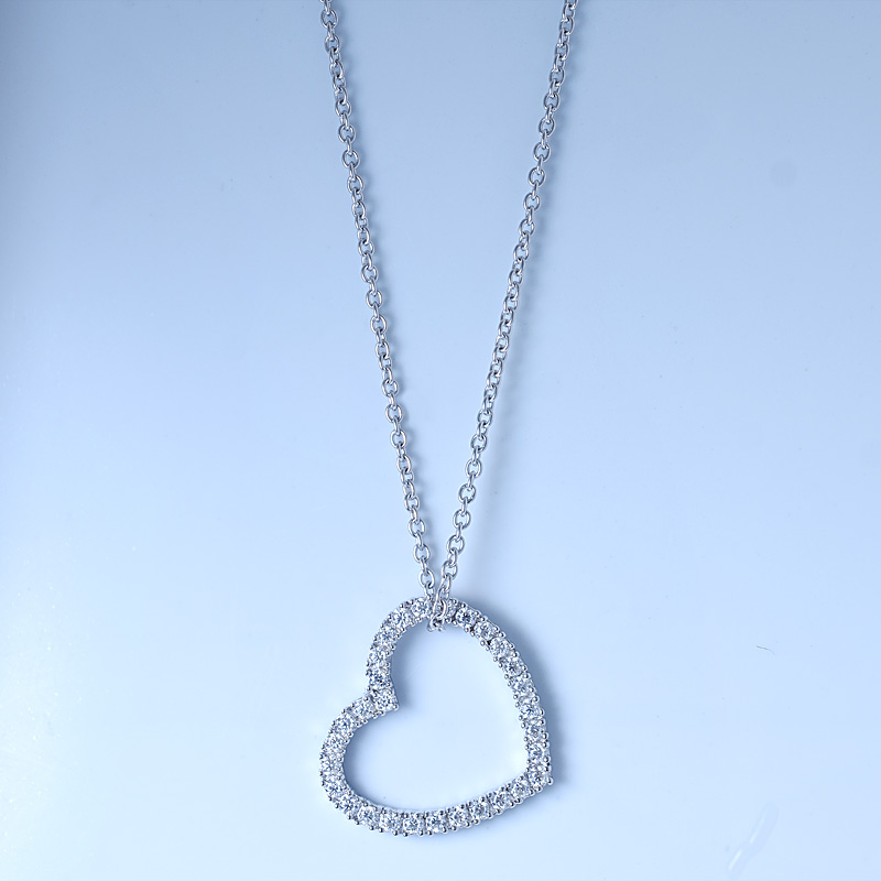 Open Heart Shape Silver Necklace